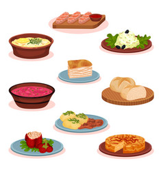 Bulgarian cuisine national food dishes set vector