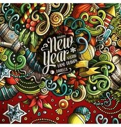 Cartoon cute doodles Happy New Year frame vector