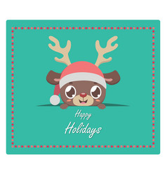 Christmas greeting with cute reindeer peeking out vector