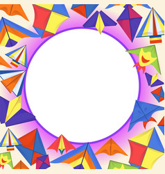 Colorful kites concept background cartoon style vector