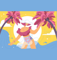 Concept woman enjoying tropical summer resort vector