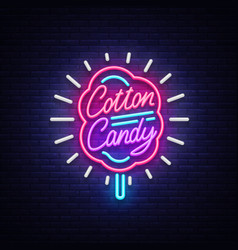 cotton candy neon sign cotton candy logo in neon vector image