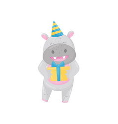 Cute adorable hippo in party hat standing with gif vector