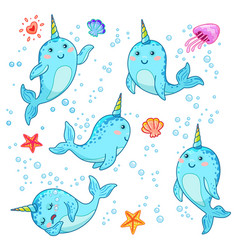 cute cartoon kawaii narwhals with rainbow horn vector image