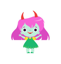 Cute horned troll girl happy smiling fantasy vector