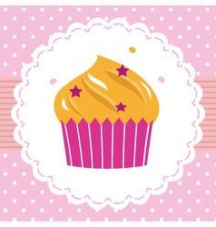 Cute party cupcake card vector