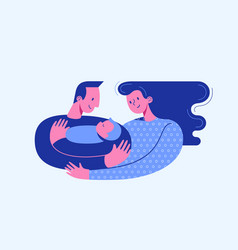 Dad hugging and cuddling baby boy or girl vector