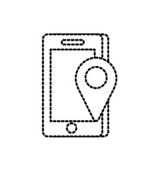 Dotted shape smartphone technology with location vector