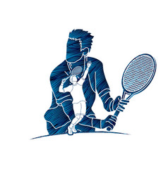 double exposure tennis player sport man action vector image