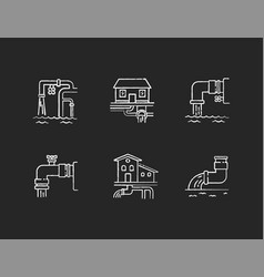 drainage pipe system chalk white icons set vector image
