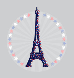 eiffel tower icon with stars vector image