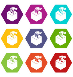 election box icons set 9 vector image