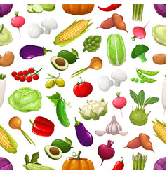 farm vegetables and greenery seamless pattern vector image