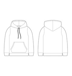Fashion technical sketch for men hoodie mockup vector
