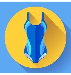 Fashionable women one-piece sport swimsuit vector