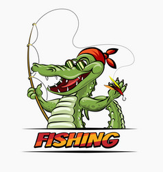 fishing crocodile vector image