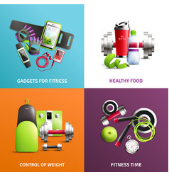 Fitness gym concept icons set vector
