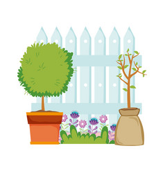 Floral houseplant with fence in garden vector