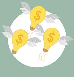 Flying light bulb Modern Flat design concep vector image