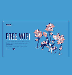 free wifi isometric landing page wireless internet vector image