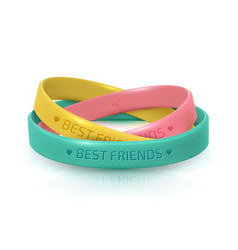 Friendship day rubber bracelets for friend band vector
