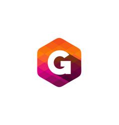 G hexagon pixel letter shadow logo icon design vector