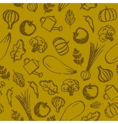 garden farm vegetables and fruit seamless vector image