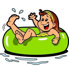 Girl floating inner tube vector