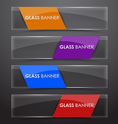 Glass banner with colors ribbon vector