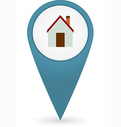 GPS marker with home icon vector