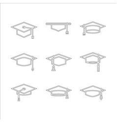 Graduate cap hat set vector