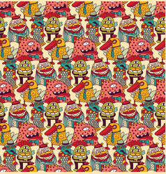 group fashion aliens color seamless pattern vector image