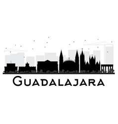 guadalajara city skyline black and white vector image