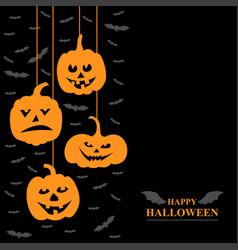 halloween funny horror pumpkins and vampires vector image