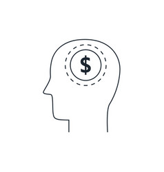 head with dollar symbol iconflat design thin line vector image
