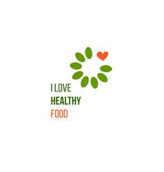 i love healthy food idea vector image