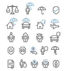 insurance set line icons vector image
