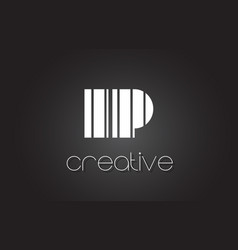 Ip i p letter logo design with white and black vector
