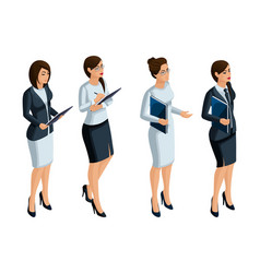 Isometric icons womans emotions 3d businesswoman vector