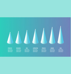 isometric infographics bar chart graph with 7 vector image