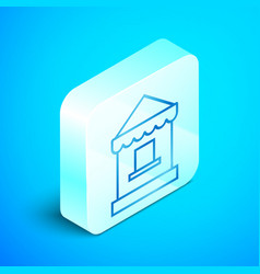 Isometric line ticket box office icon isolated on vector