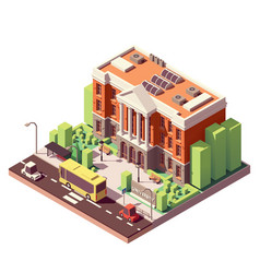 isometric university building vector image