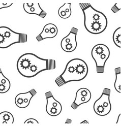 light bulb with gear seamless pattern business vector image