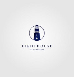lighthouse tower logo in circle frame design vector image