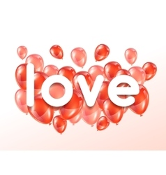Love Greeting card with pink and red glossy vector