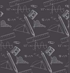 math formulas and crayons drawn on a blackboard vector image