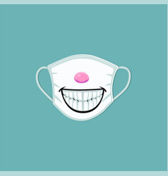 Medical mask with cartoon smile print - scary vector