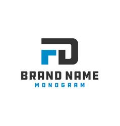 monogram logo design letter fd vector image