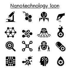 Nanotechnology icon set vector
