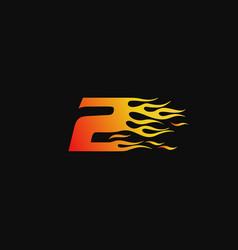 Number 2 burning flame logo design template vector